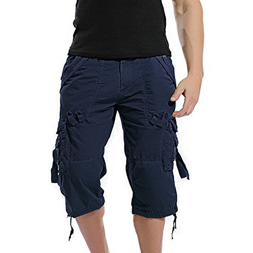 AOQ Mens Casual Slim Fit Cotton Solid Multi-Pocket Cargo Shorts (32, Navy Blue)
