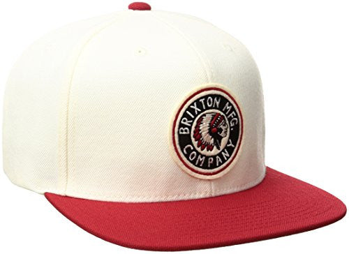 Brixton Men's Rival Adjustable Snapback, White/Cardinal, One Size