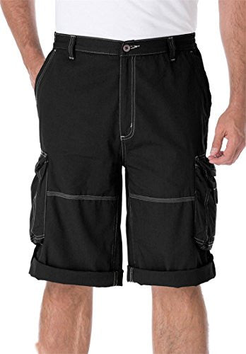 Kingsize Men's Big & Tall Weekend Convertible Cargo Shorts, Black Tall-36