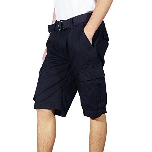 Denim House Men's Basic Belted Cargo Short (36,Solid Black)