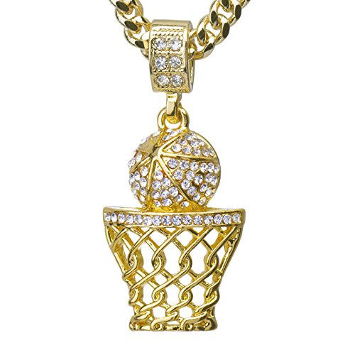 "Metaltree98 Hip Hop Iced Out 14k Gold Plated Mini Basketball Rim Pendant 24"" Cuban Link Chain CPB 1109 G"