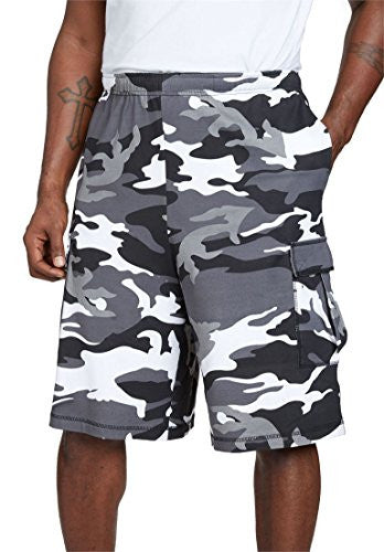 Boulder Creek Men's Big & Tall Jersey Cargo Shorts, Black Camo Tall-2Xl