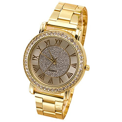 Retro Men's Gold Plated Crystal Business Casual Analog Quartz Wrist Watch
