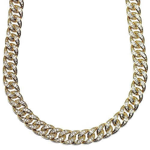 Mega Jewellery 18k Gold Plated Miami Cuban Link CZ Chain Fully Iced Out Stainless Steel 10mm 30 Inch