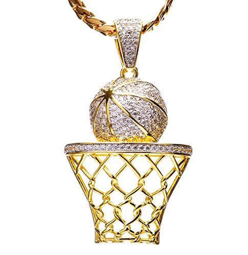 Luxury Hip Hop Iced Out 14kt Gold Plated Mini Basketball Rim Pendant Miami Cuban Chain Set BCH 1050