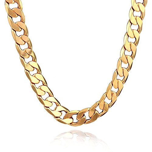 18K Plated Men Gold Chain Necklace Figaro Punk Style Jewelry,0.5inch width - 24inch Length