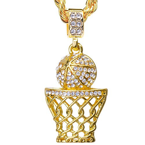 Metaltree98 Luxury Hip Hop Iced Out 14kt Gold Plated Mini Basketball Rim Pendant 4 mm & 24 inch Rope Chain HC 1109 G