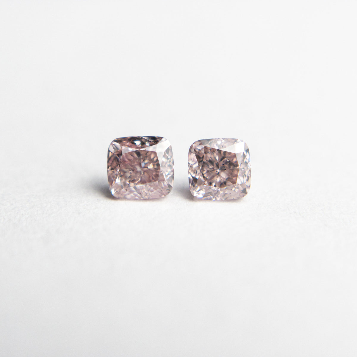2pc 0.47cttw 3.44x3.26x2.32mm Argyle GIA Fancy Pink SI1/SI2 Cushion Brilliant Matching Pair 18683-01