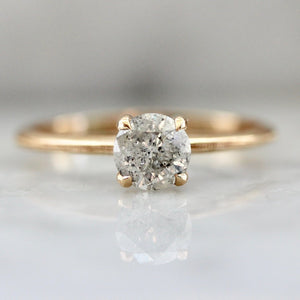 Stella .74 Carat Salt & Pepper Round Brilliant Cut Diamond Ring With Milgrain