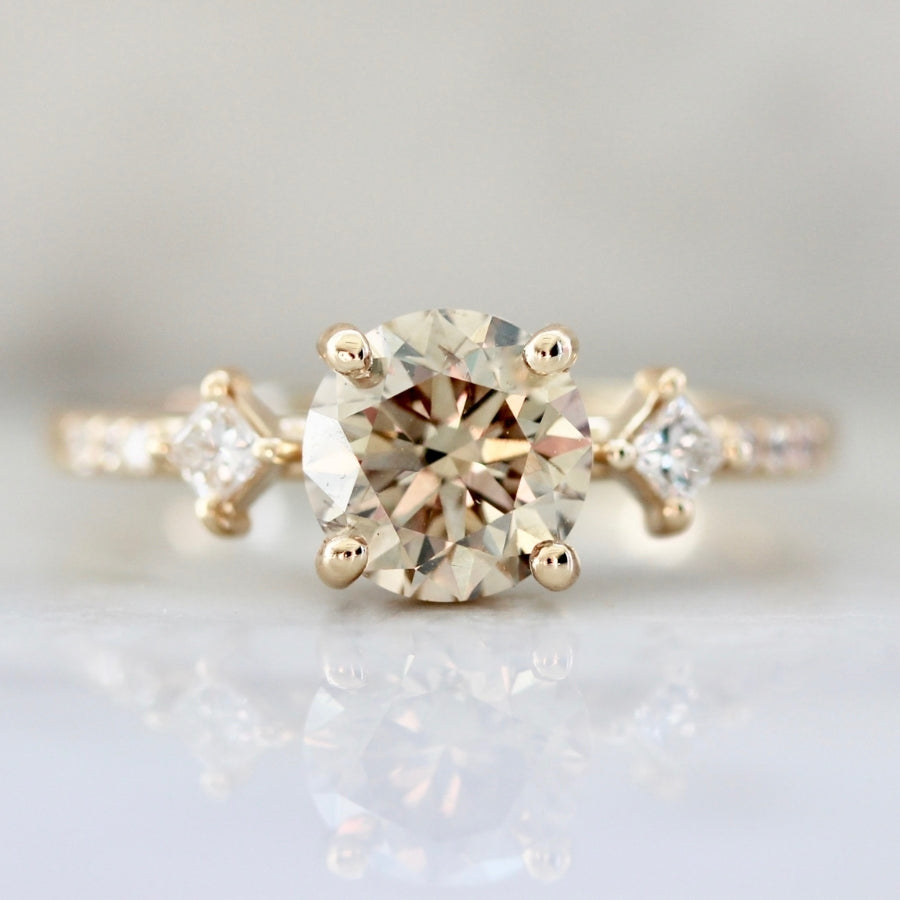 Lady Luck Champagne Round Brilliant Cut Diamond Ring
