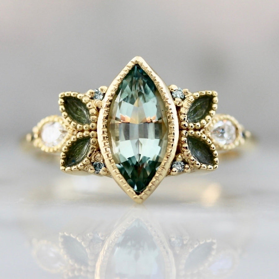 Eclair Pale Blue Marquise Cut Aquamarine and Diamond Ring