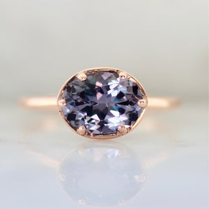Leia Lavender Oval Cut Spinel Ring in Rose Gold