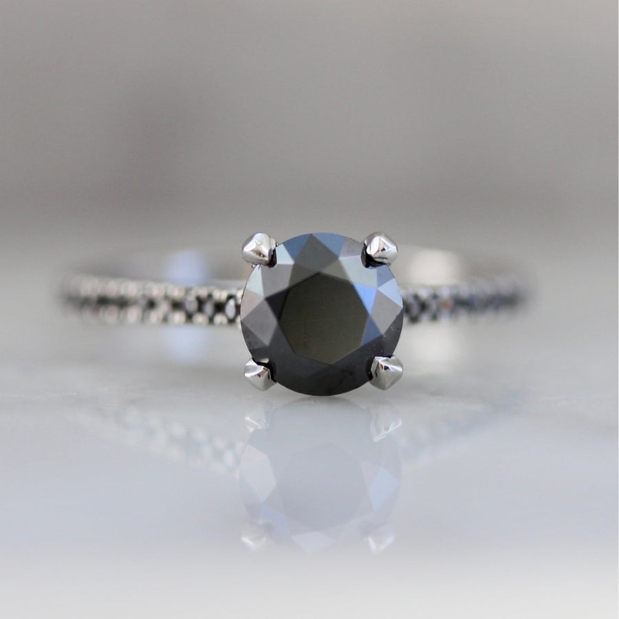 Kit Round Cut Black Diamond Ring