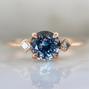Esme Blue Round Brilliant Cut Spinel Ring in Rose Gold