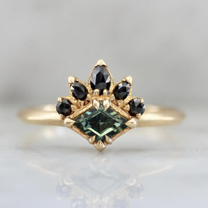 Vaughn Teal Lozenge Cut Sapphire Ring in Yellow Gold