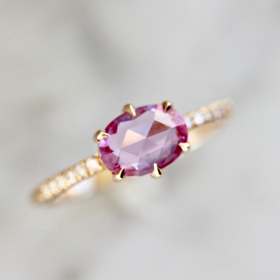 Duchess Hot Pink Oval Rose Cut Sapphire Ring in Peach Gold®