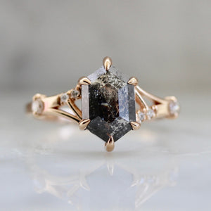 Lana Salt and Pepper Hexagon Rose Cut Diamond Ring