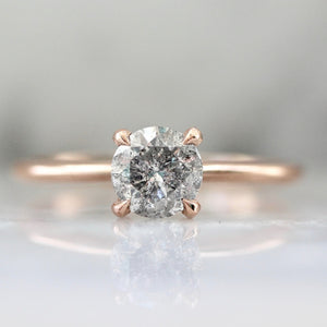 Stella .84 Carat Salt & Pepper Round Brilliant Cut Diamond Ring in Rose Gold