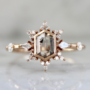 Lumi Salt and Pepper Hexagon Rose Cut Diamond Ring