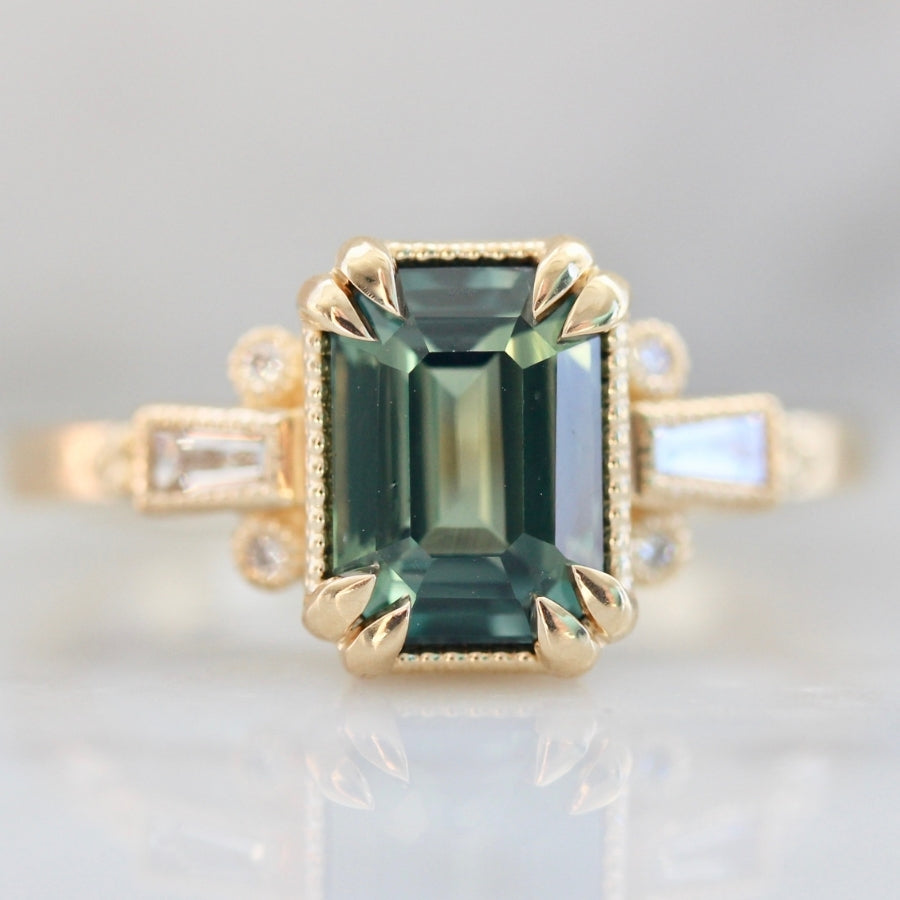 Starling Green Emerald Cut Sapphire & Diamond Ring