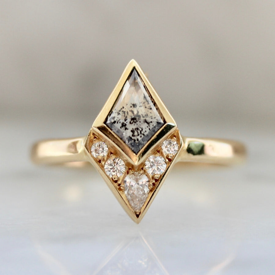 Michet Salt & Pepper Kite Rose Cut Diamond Ring in Yellow Gold