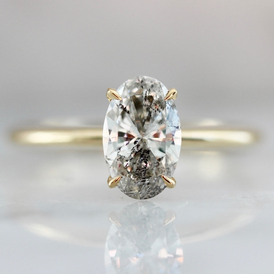 1.01 Carat Stella Salt & Pepper Oval Cut Diamond Ring