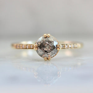 Sabine Salt & Pepper Round Cut Diamond Ring in Yellow Gold