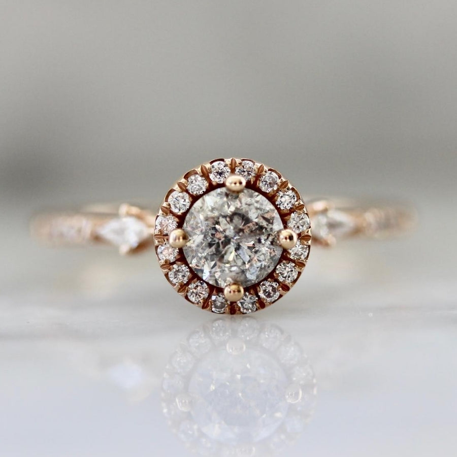 Celia Salt and Pepper Round Brilliant Cut Halo Diamond Ring