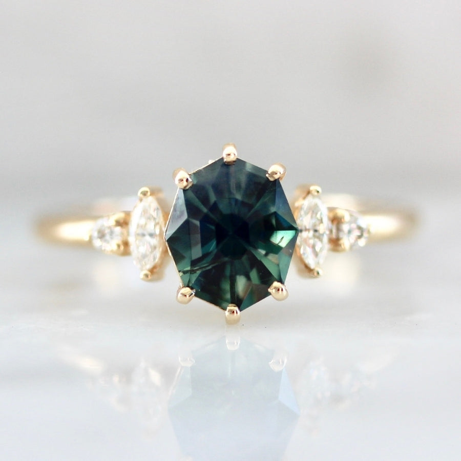 Rituals Geo Cut Teal Green Sapphire & Diamond Ring