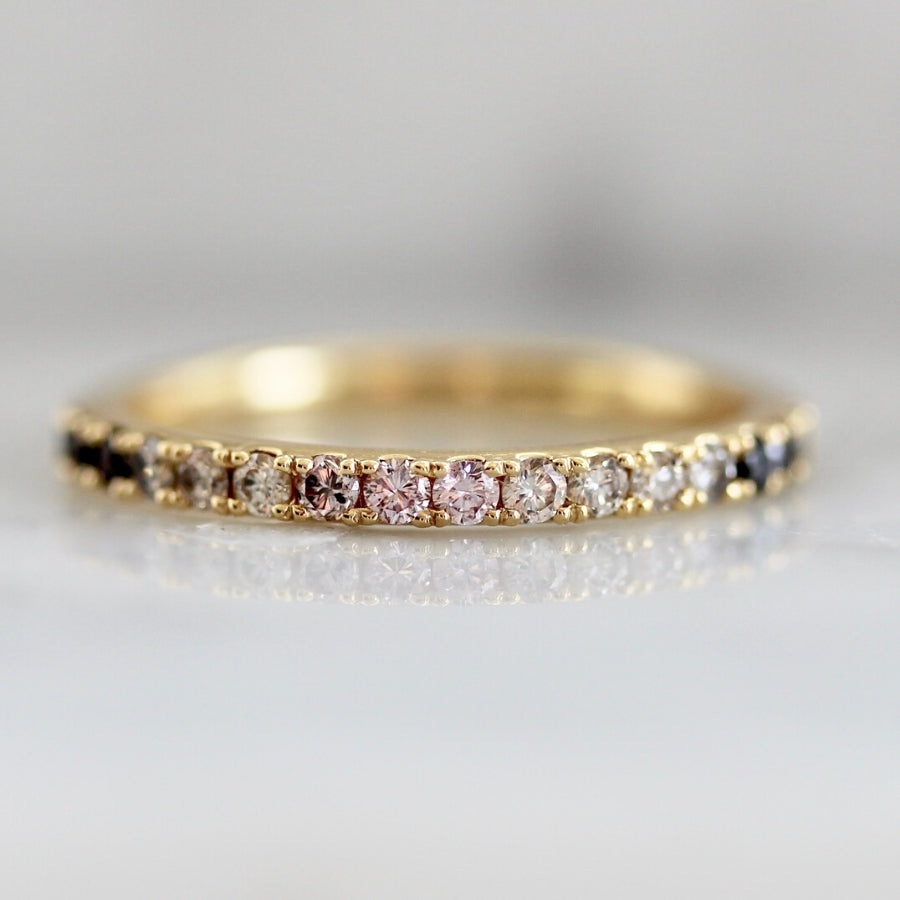 Sugar Skies Pink Ombre Half Eternity Diamond Band