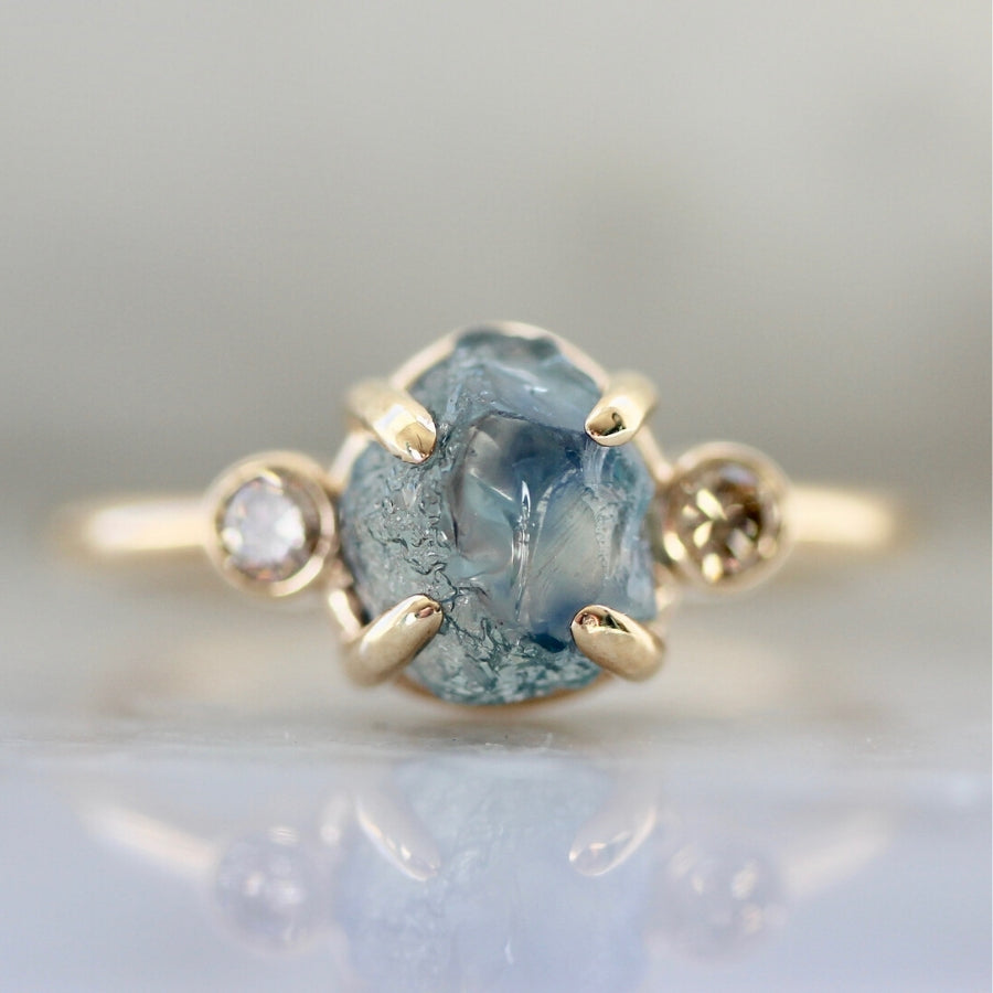 Simone Blue Rough Montana Sapphire and Champagne Diamond Ring