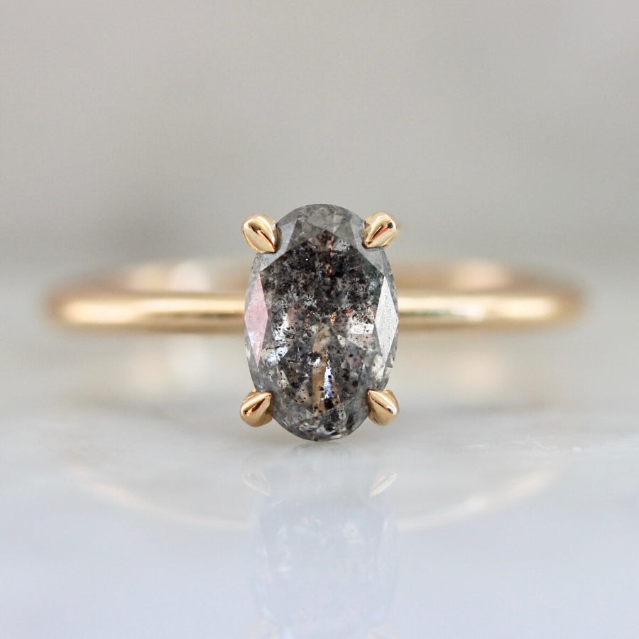 Stella Salt & Pepper Oval Cut Diamond In Peach Gold®