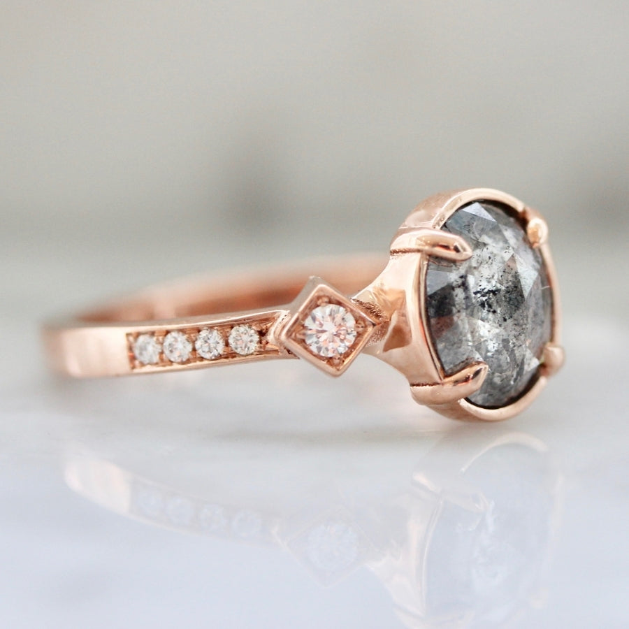 Bonne Chance Salt & Pepper Oval Rose Cut Diamond Ring