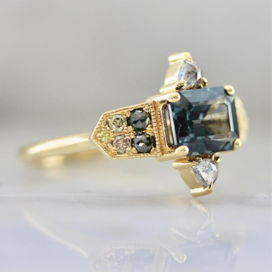Zuzu Emerald Cut Teal Spinel and Diamond Medley Ring