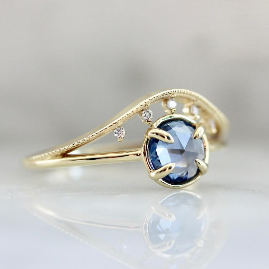 Lyra Blue Rose Cut Sapphire & Diamond Ring