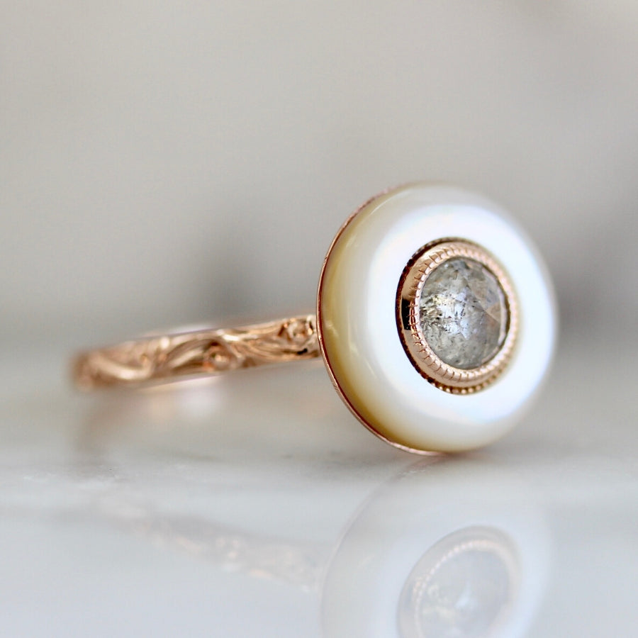 Nadine Mother Of Pearl & Icey Round Rose Cut Diamond Ring in Rose Gold