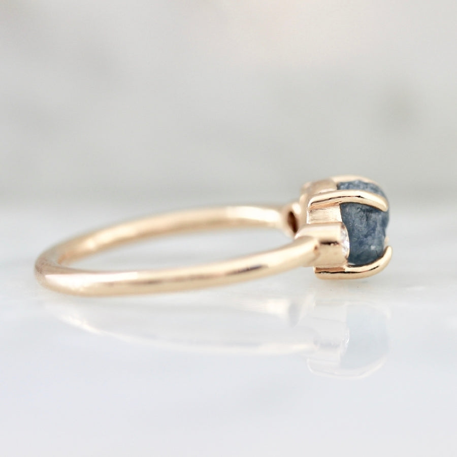 Blue Moon Rough Montana Sapphire and Diamond Ring