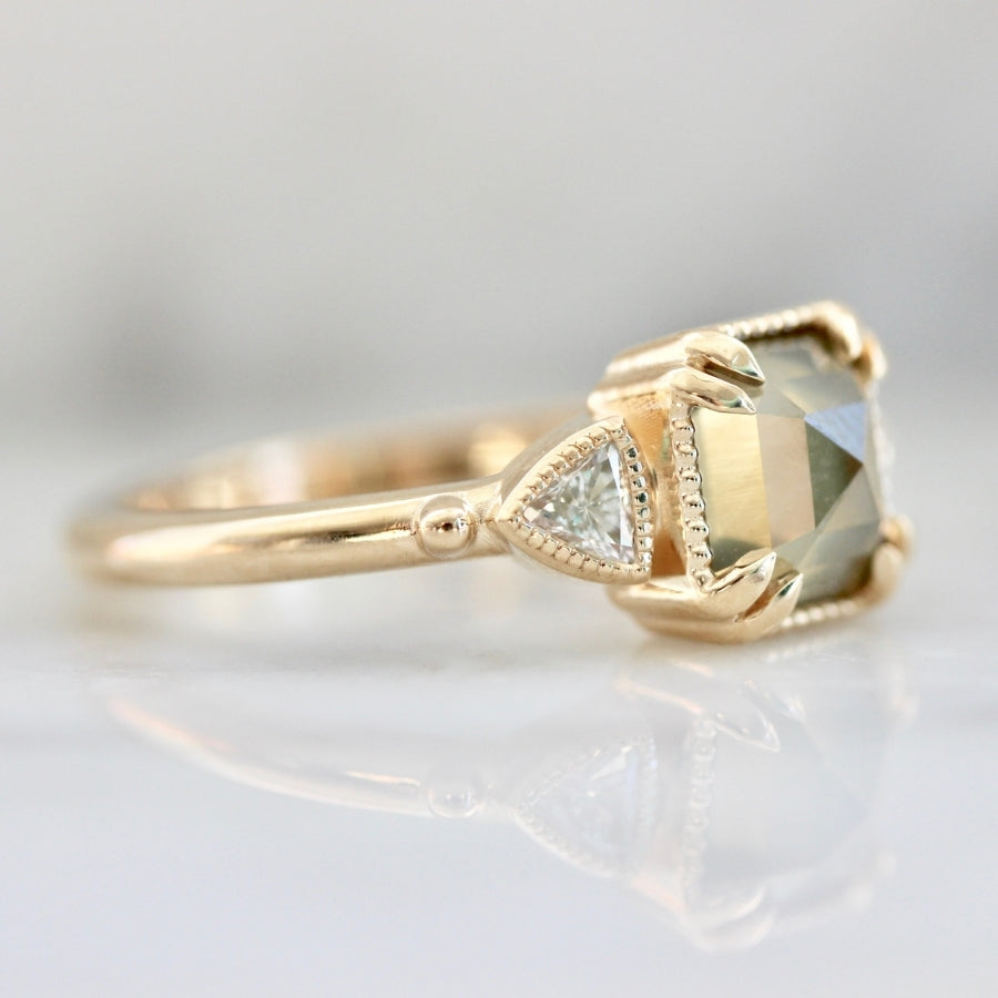 Goldfinch Yellow-Green Emerald Rose Cut Diamond Ring