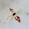 Foxglove Pink Sapphire and Diamond Enamel Ring in Yellow Gold