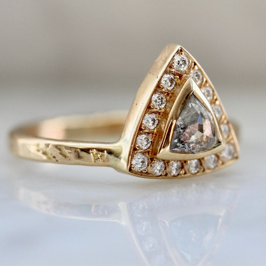 Malbec Salt & Pepper Trillion Rose Cut Diamond Ring in Yellow Gold
