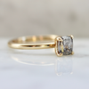 Raven Salt and Pepper Cushion Cut Solitaire Ring in Yellow Gold