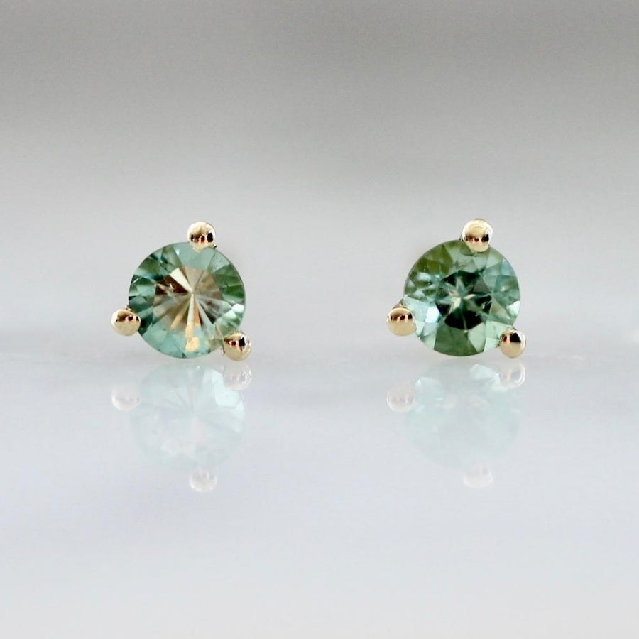 .17 Carats Total Round Cut Green Tourmaline Earrings