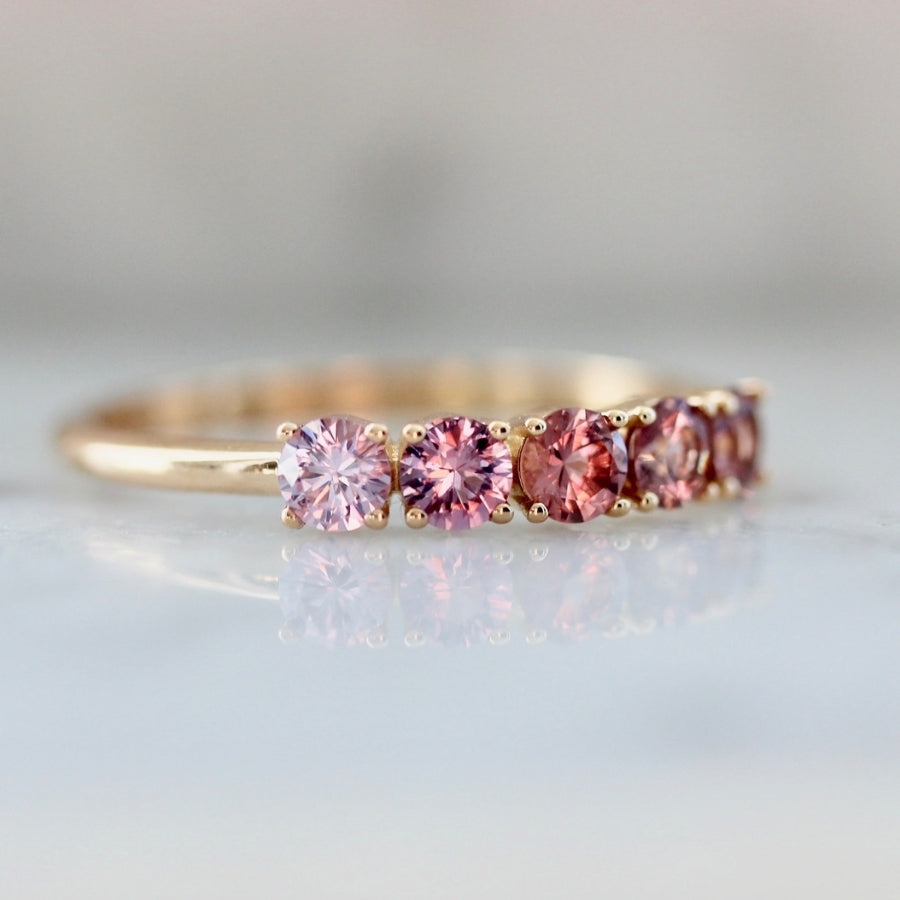 Venus Pink Ombré Round Cut Sapphire & Spinel Band