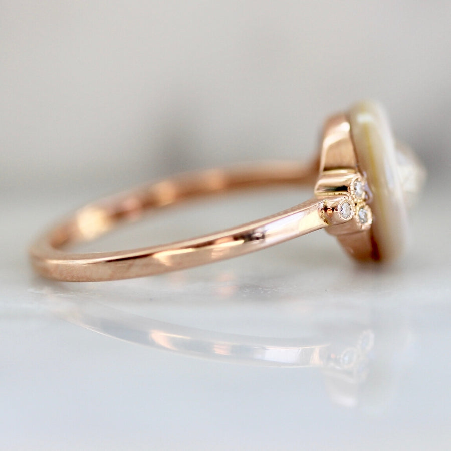 Farrah Mother Of Pearl & Icey Round Rose Cut Diamond Ring in Rose Gold