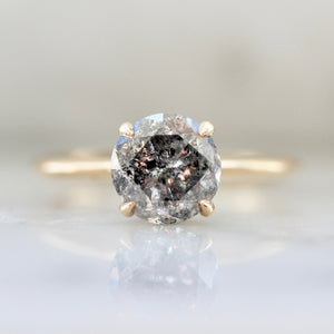 Stella 2.08 Carat Salt & Pepper Round Brilliant Cut Diamond Ring in Peach Gold