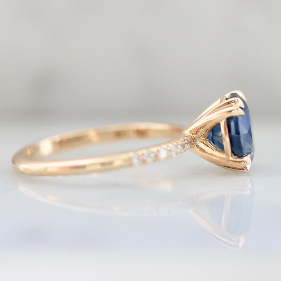 2.60 Carat Capri Blue Sapphire Stella With Pave Shoulders In Peach Gold®