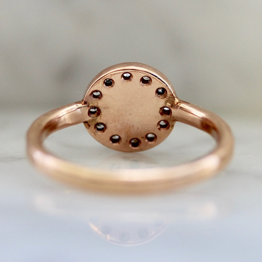 Barbera Salt & Pepper Round Rose Cut Diamond Ring in Rose Gold