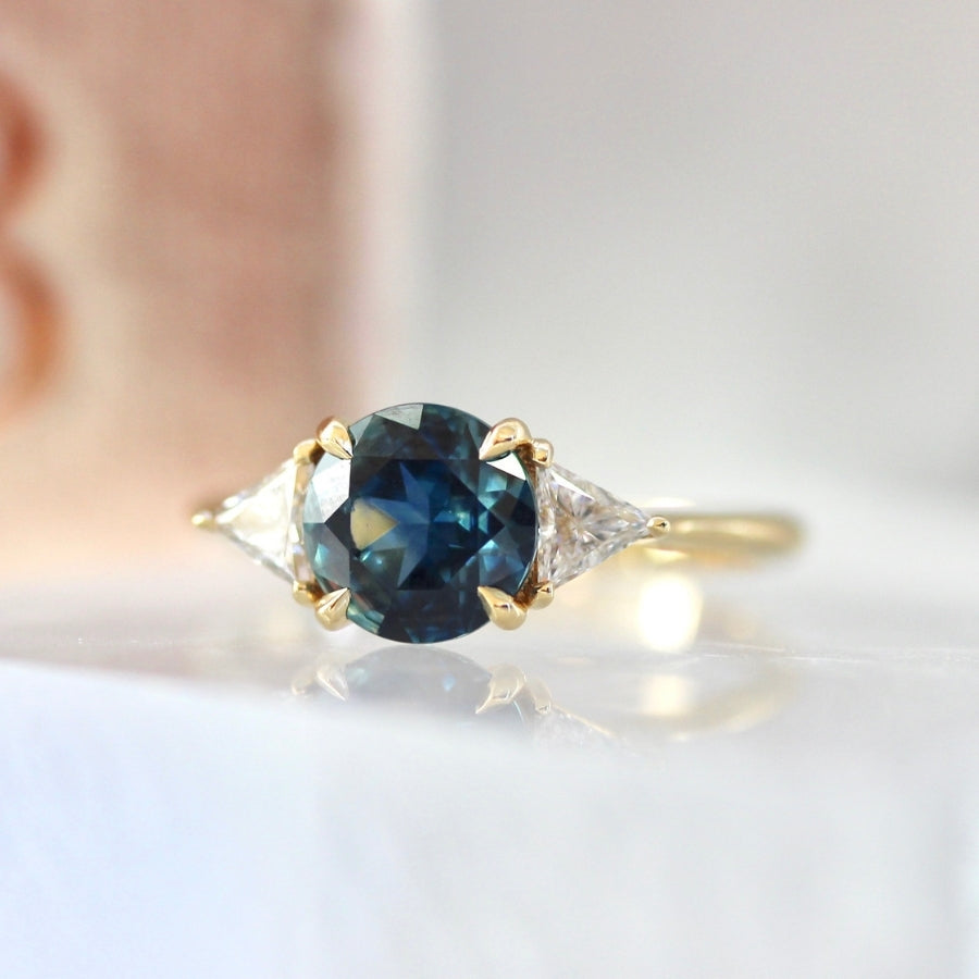 Blue Lagoon Round Brilliant Cut Sapphire and Diamond Ring