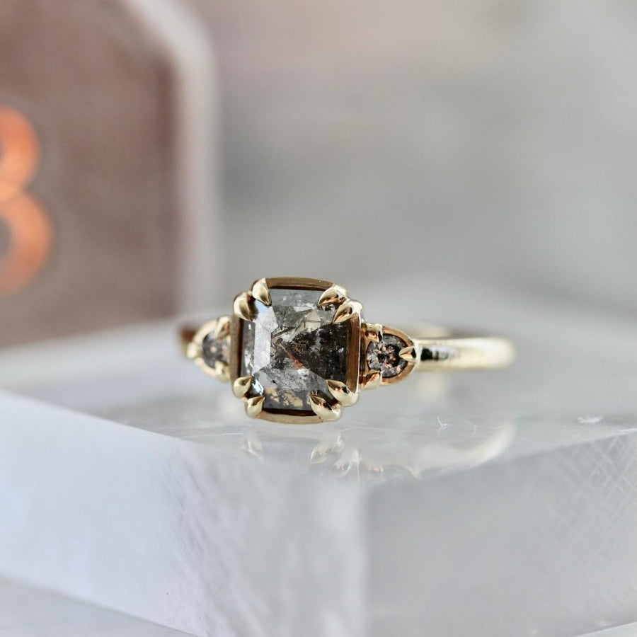 Carina Salt & Pepper Step Rose Cut Diamond Ring