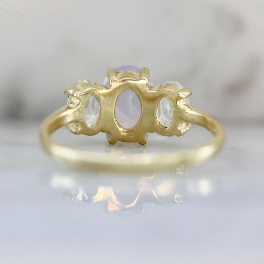 Midsummer Oval Cut Moonstone & Amethyst Ring